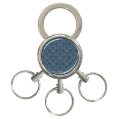 Damask Blue 3 Ring Key Chains