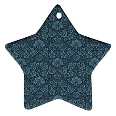 Damask Blue Star Ornament (two Sides)