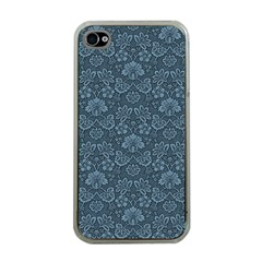 Damask Blue Apple Iphone 4 Case (clear)