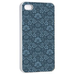 Damask Blue Apple Iphone 4/4s Seamless Case (white)
