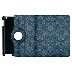 Damask Blue Apple Ipad 2 Flip 360 Case