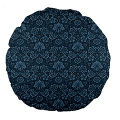 Damask Blue Large 18  Premium Round Cushions