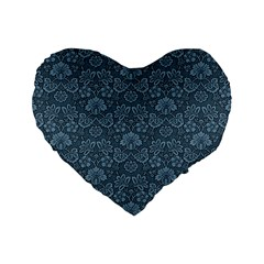 Damask Blue Standard 16  Premium Heart Shape Cushions