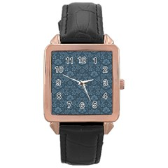 Damask Blue Rose Gold Leather Watch
