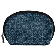 Damask Blue Accessory Pouches (large)