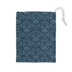 Damask Blue Drawstring Pouches (large)