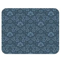 Damask Blue Double Sided Flano Blanket (medium)