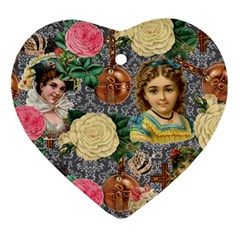 Damask Religious Victorian Grey Ornament (heart)