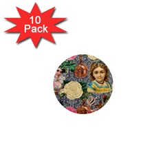 Damask Religious Victorian Grey 1  Mini Magnet (10 Pack)