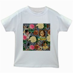 Damask Religious Victorian Grey Kids White T Shirts