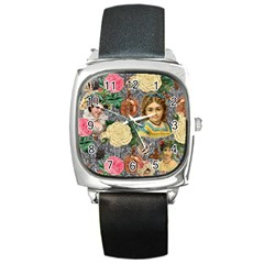 Damask Religious Victorian Grey Square Metal Watch