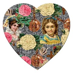 Damask Religious Victorian Grey Jigsaw Puzzle (heart)
