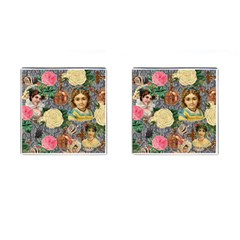 Damask Religious Victorian Grey Cufflinks (square)