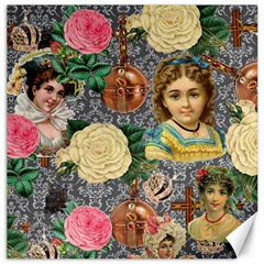 Damask Religious Victorian Grey Canvas 16  X 16