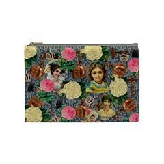 Damask Religious Victorian Grey Cosmetic Bag (medium)