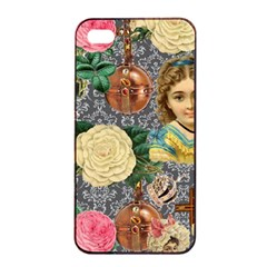 Damask Religious Victorian Grey Apple Iphone 4/4s Seamless Case (black)