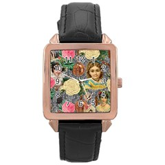 Damask Religious Victorian Grey Rose Gold Leather Watch