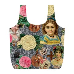 Damask Religious Victorian Grey Full Print Recycle Bags (l)