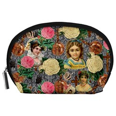 Damask Religious Victorian Grey Accessory Pouches (large)