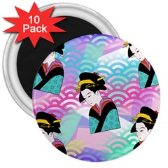 Japanese Abstract 3  Magnets (10 Pack)