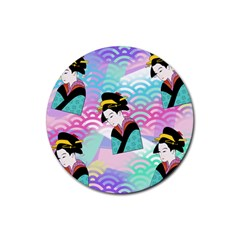 Japanese Abstract Rubber Round Coaster (4 Pack)