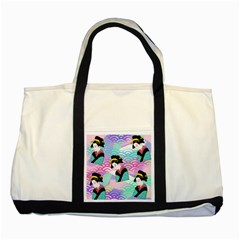 Japanese Abstract Two Tone Tote Bag