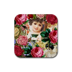Little Girl Victorian Collage Rubber Square Coaster (4 Pack)