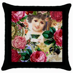 Little Girl Victorian Collage Throw Pillow Case (black)