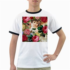 Little Girl Victorian Collage Ringer T Shirts
