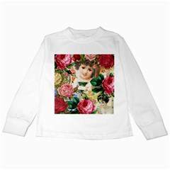 Little Girl Victorian Collage Kids Long Sleeve T Shirts