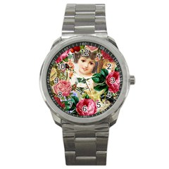 Little Girl Victorian Collage Sport Metal Watch