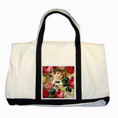 Little Girl Victorian Collage Two Tone Tote Bag