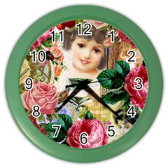 Little Girl Victorian Collage Color Wall Clocks