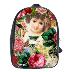 Little Girl Victorian Collage School Bag (large)