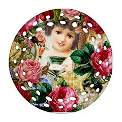 Little Girl Victorian Collage Round Filigree Ornament (two Sides)