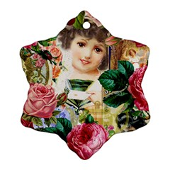 Little Girl Victorian Collage Snowflake Ornament (two Sides)
