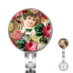 Little Girl Victorian Collage Stainless Steel Nurses Watch