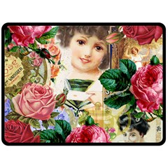 Little Girl Victorian Collage Double Sided Fleece Blanket (large)