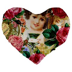 Little Girl Victorian Collage Large 19  Premium Flano Heart Shape Cushions
