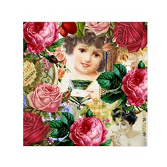 Little Girl Victorian Collage Small Satin Scarf (square)