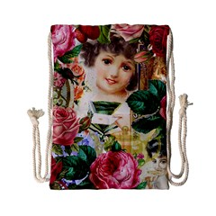 Little Girl Victorian Collage Drawstring Bag (small)