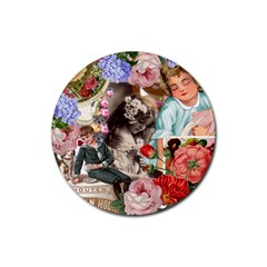 Victorian Collage Rubber Round Coaster (4 Pack)