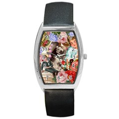 Victorian Collage Barrel Style Metal Watch