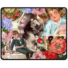 Victorian Collage Double Sided Fleece Blanket (medium)