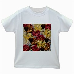 Octopus Floral Kids White T Shirts