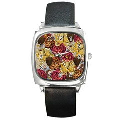 Octopus Floral Square Metal Watch
