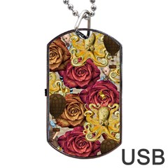 Octopus Floral Dog Tag Usb Flash (one Side)