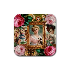 Victorian Collage Of Woman Rubber Coaster (square)