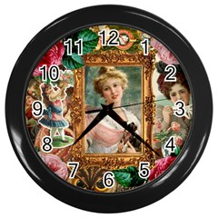 Victorian Collage Of Woman Wall Clocks (black)