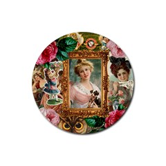 Victorian Collage Of Woman Rubber Coaster (round)